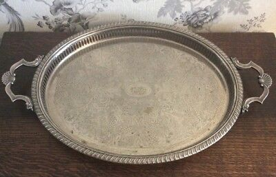 A Vintage Silver Plated Galleried Tray