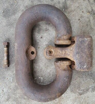 LARGE Antique Vtg Iron Ship Dock Pier Mooring Anchor Chain Joining Link Shackle