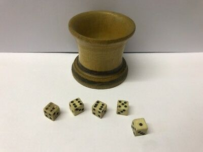 Antique Mauchline Ware Turned Wooden Dice Shaker Very Early  & 5 Vintage  Dice