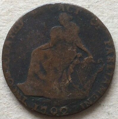 IRELAND DUBLIN 1792 TRADE 1/2 PENNY COPPER TOKEN COIN 8.64 g