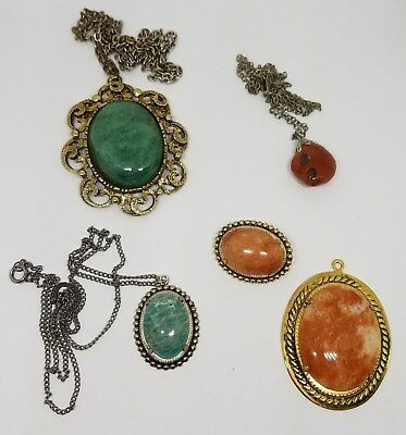 Vintage Estate Jewelry Lot of Polished Mounted Stone Necklaces Pendant Brooch