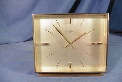 Vintage large Swiza 8 days alarm clock - solid brass - working