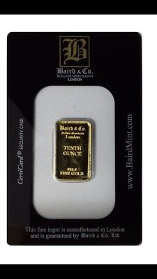 Baird And Co London 1/10 Oz Minted Gold Bullion Bar