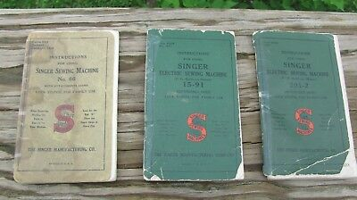 Singer Sewing Machine Instruction Books For Model 66, 15-91, 201-2