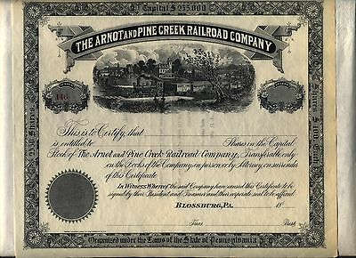 Arnot & Pine Creek Railroad Stock Certificate Blossburg Pennsylvania
