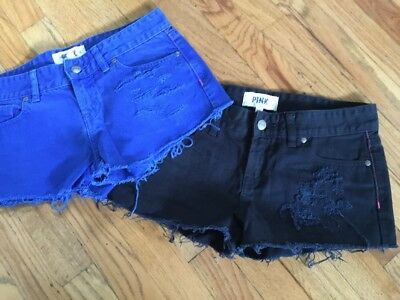Lot of 2 Victorias Secret VS PINK Jean Short Shorts Cut Off Denim Jean size 2