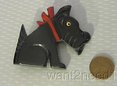 vtg French hand carved painted BLACK GALALITH SCOTTIE DOG PIN thick chunky deco