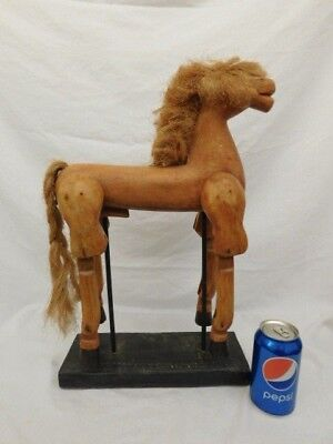 """Vintage Artisan Wooden Carved Horse Jointed Legs On Stand 20"""" Tall"""