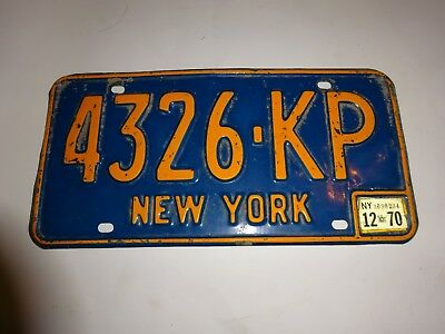 1966-73 New York State License Plate #4326-KP 1970 registration sticker