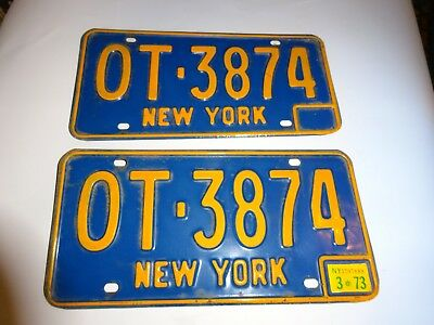 1966-73 New York State License Plates #OT-3874 with 1973 registration sticker