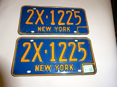 1966-73 New York State License Plates #2X-1225 with 1968 registration sticker
