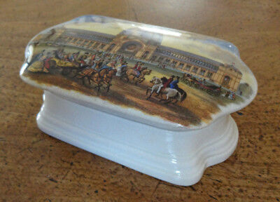 Collectible Antique Vintage Prattware Porcelain Pot Base Lid 'Alexandra Palace'
