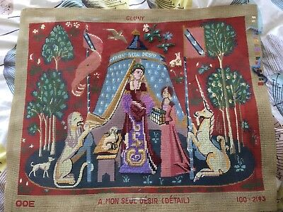 Cluny Lady And Unicorn Tapestry Canvas, With Ehrman Wools. Part Worked