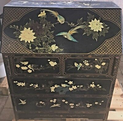 Chinese Laquer Hand Pinting Secretary Desk Used in Fair Condition.