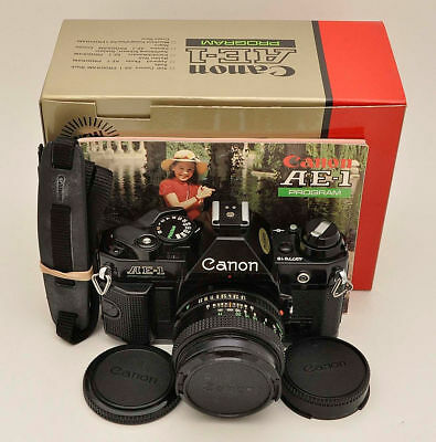 Beautiful Black Canon AE-1 Program 35mm SLR Film Camera with 50mm 1.8 Lens