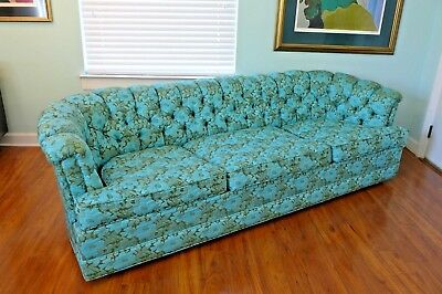 Vintage Howard Parlor Custom Blue Green Fl Sofa Tufted Mid Century Couch Mcm