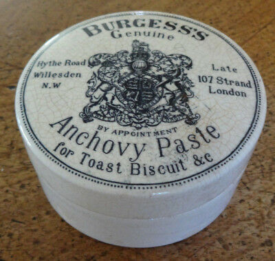 Collectible Antique Vintage Porcelain Burgess Genuine Anchovy Paste Pot
