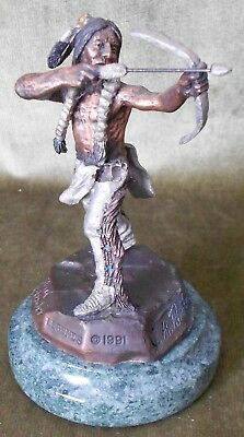 """C. A. PARDELL """"Tribal Defender"""" Native American Scupture by Legends 1991"""