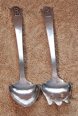 KALO Handwrought Arts & Crafts Sterling Salad Serving Set