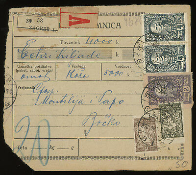 Croatia 1920 money order sent from Zagreb and franked with Slovenian stamps
