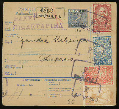 Bosnia 1920 parcel card from Sarajevo to Kupres, franked with Slovenian stamps