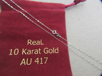 Real 10Kt White Gold 1.3mm Solid Flat Cable Chain Necklace  real gold