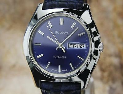 Bulova N8 Swiss Made Men's Vintage Automatic Day Date Watch Circa 1970 EB169