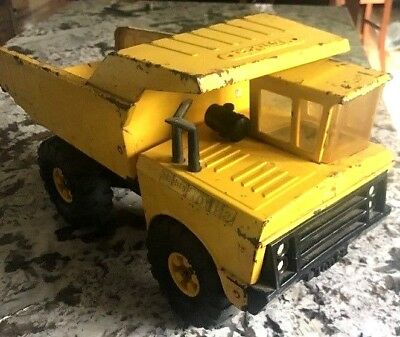 Vintage 1960's Tonka Mighty Dump Truck Yellow and Black Pressed Steel