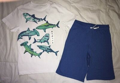Crazy 8 by Gymboree boys 🦈 tee blue shorts 7-8