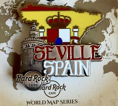 Hard Rock Cafe 2017 Seville, Spain World Map Series Pin!!