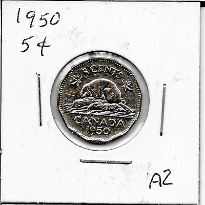 1950 Canadian  5 cent coin