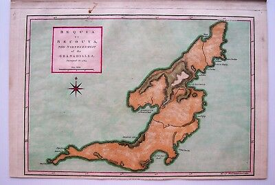 "Bequia Antique Map: Grenadines: West Indies: Robert Sayer: ""Surveyed In 1763"""