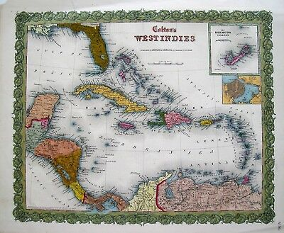 Colton Antique Map of The West Indies: Original Steel Plate Engraved Map: 1855