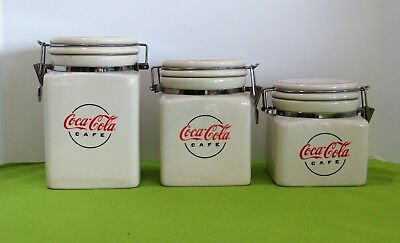 Set of 3 2004 Gibson Coca Cola Ceramic Seal Canister Set
