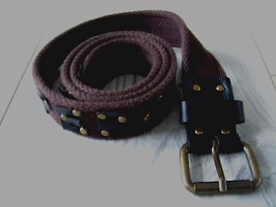 Pepe Jeans London, Canvas & Leather Belt, Brown XS