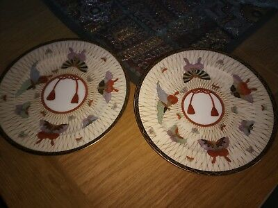 Japanese Satsuma Moth Butterfly Hand Painted Antique Plates