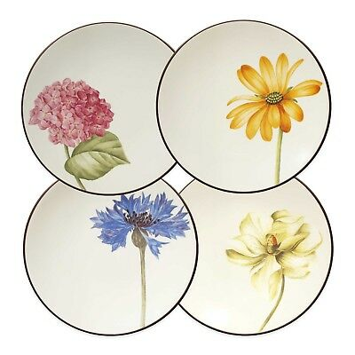 Noritake Colorwave Chocolate Set of 4 Floral Appetizer Dessert Plates 6.25""