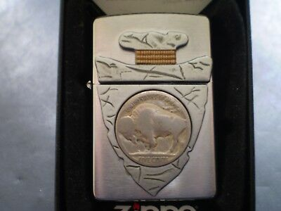 "Zippo / Rare Vintage Indian "" Arrowhead And 5 Cents Coin "" From Western Series"