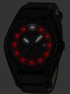 KHS Tactical Watches Reaper XTAC Swiss Movement Red H3-Light Date Leather Strap