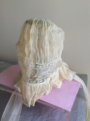 Antique Vintage Ivory Bonnet/cap With Floral Embroidery, Lace Detail And Ties!