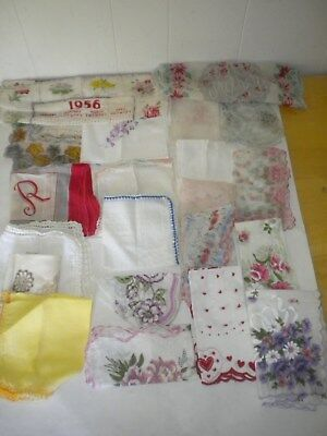 Lot of 40 Vintage HANDKERCHIEFS/HANKIES - Some Floral Print and Hand Embroiderd