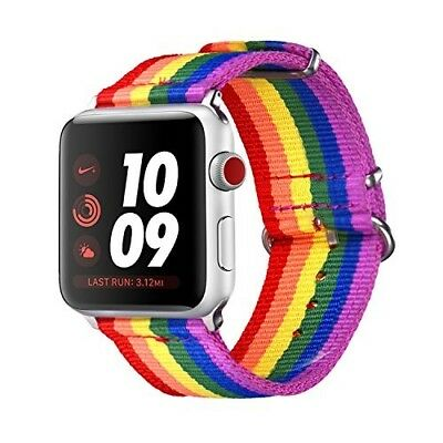Apple Watch LGBT Band 42mm Series 1 2 3 Durable Nylon iWatch Strap Rainbow Gift
