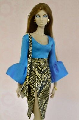 """Tess-Creations fashion royalty 12"""" ooak handmade clothes outfit Teal Obsession"""""""