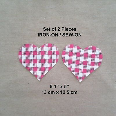 Pink White Checkers Heart 2 Pcs Elbow DIY Patches Iron-on Girls Jeans Oval Patch
