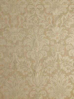 ROGERS & GOFFIGON linen damask floral wheat tone on tone new 1+ yards