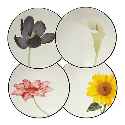 Noritake Colorwave Graphite Set of 4 Floral Appetizer Dessert Plates 6.25""