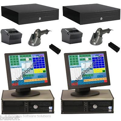 2 Stn Retail Touch Point of Sale System with POS & Credit Card Software