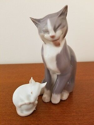 Bing & Grondahl Porcelain Grooming Cat & Mouse Numbered Figurines - Pair Price