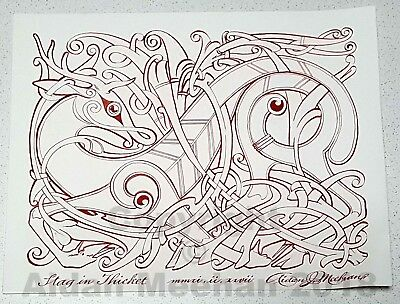 "Aidan Meehan ORIGINAL ART  ""Stag in Thicket"" Quill Pen, ink,, Celtic Animal Knot"