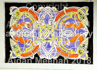 "ORIGINAL ART ""Four Red Griffins"" Celtic Art Painting, by Aidan Meehan"